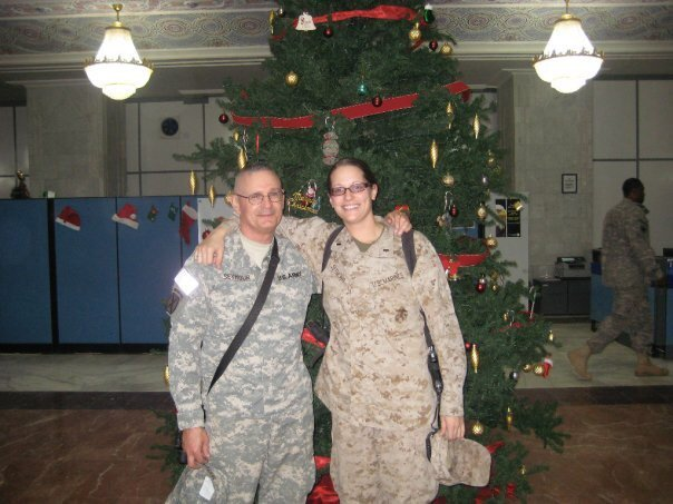 From the story, 'The Arrest:' Maggie with her uncle, LeRoy Seymour, in Baghdad in 2009.