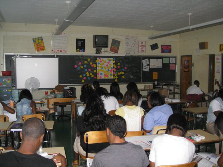 Baltimore high school juniors working on literature projects in English class, 2010.
