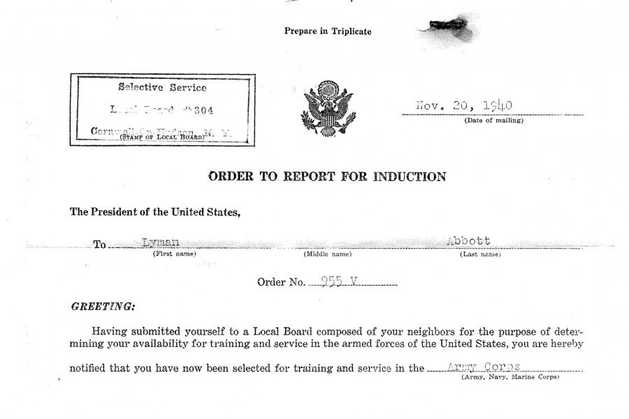 Lyman Abbott's Order to Report Letter from the U.S. Army, 1940.