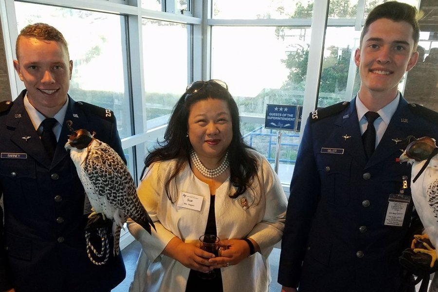 Hoppin chatting with cadets at the Air Force Academy before a Board of Visitors meeting.