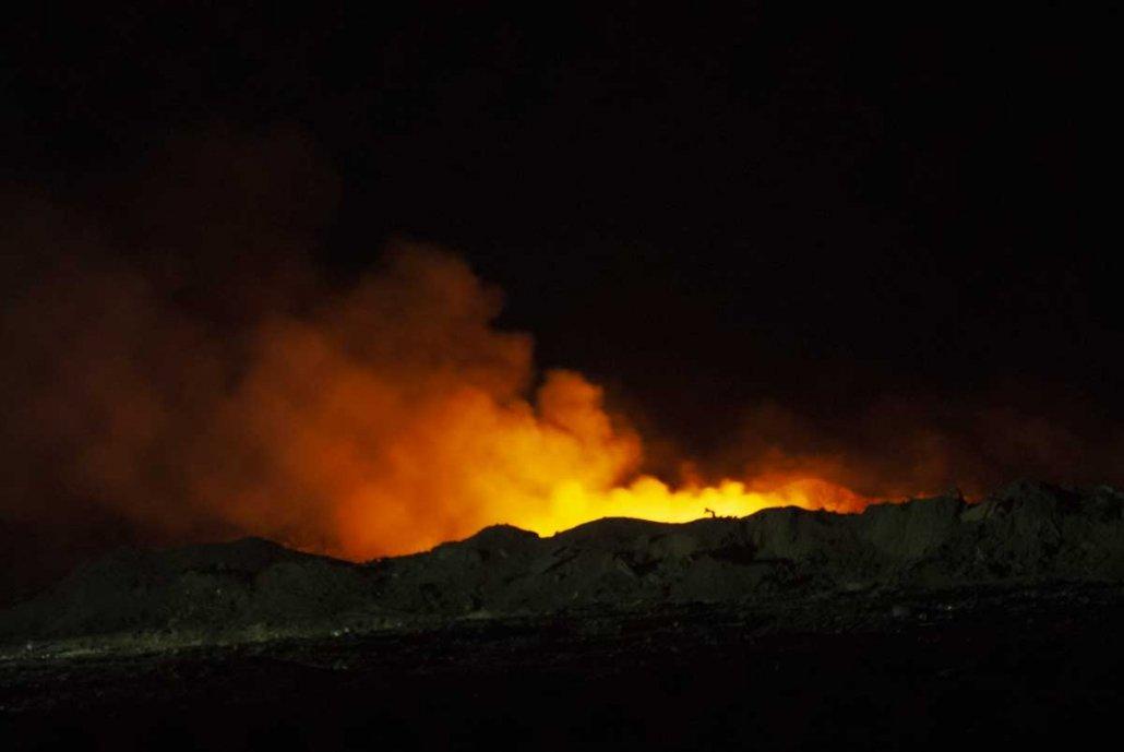 A burn pit in Balad, Iraq.