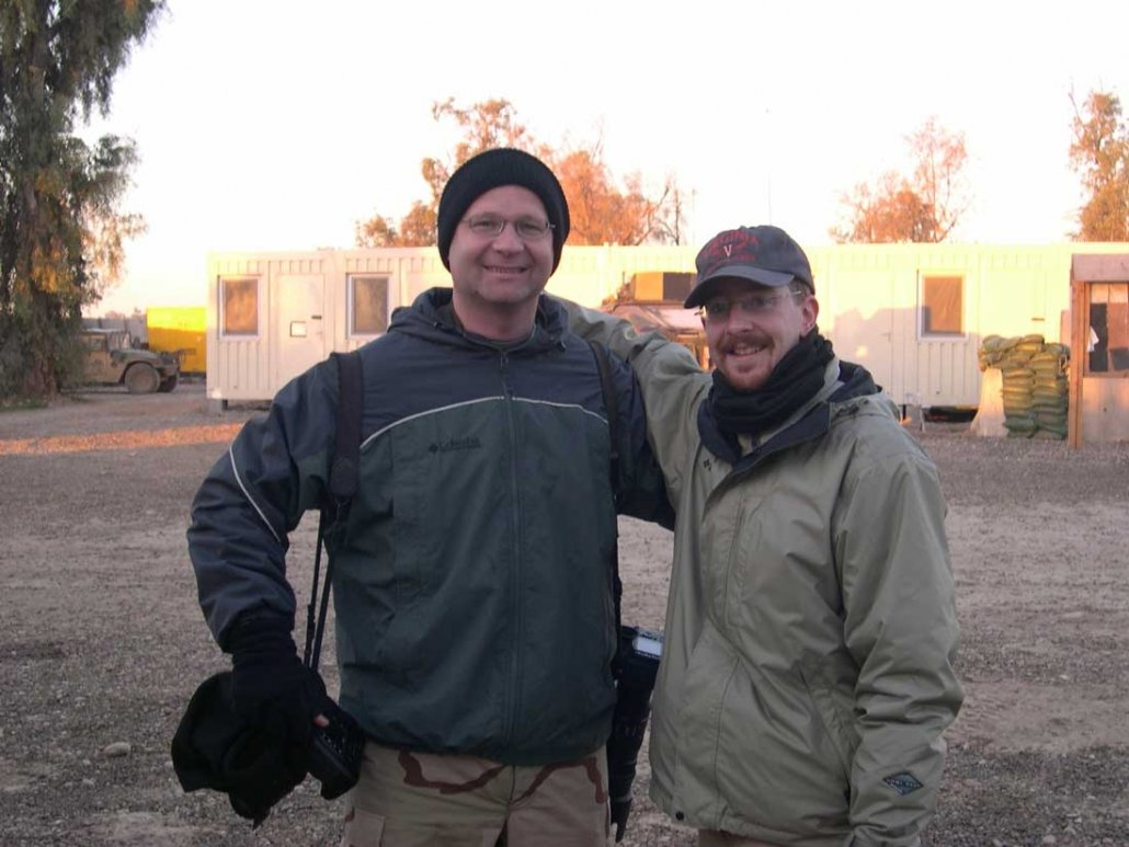 Dean Hoffmeyer, left, and Jeremy Redmon reported on Virginia National Guardsmen in Northern Iraq in 2004 and 2005. Photo courtesy of Jeremy Redmon.