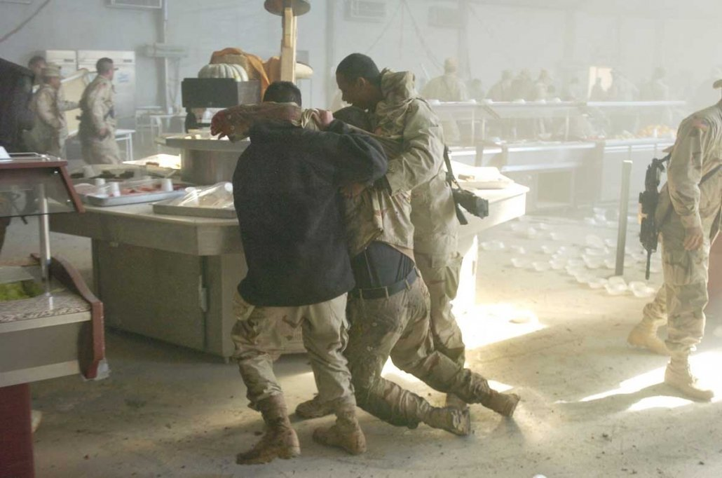 The suicide bombing in the mess tent at Forward Operating Base Marez, Iraq, in 2004 turned everything around Dean Hoffmeyer orange, blew his lunch tray out of his hands and knocked him to the ground. He remembers thinking: Somebody is going to want to see what happened here. Photo courtesy of Dean Hoffmeyer, Richmond Times-Dispatch.