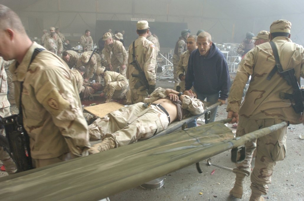 Soldiers rushed into the mess tent at Forward Operating Base Marez in Mosul, Iraq, to rescue the wounded after the suicide bomber struck in 2004. Photo courtesy of Dean Hoffmeyer, Richmond Times-Dispatch.
