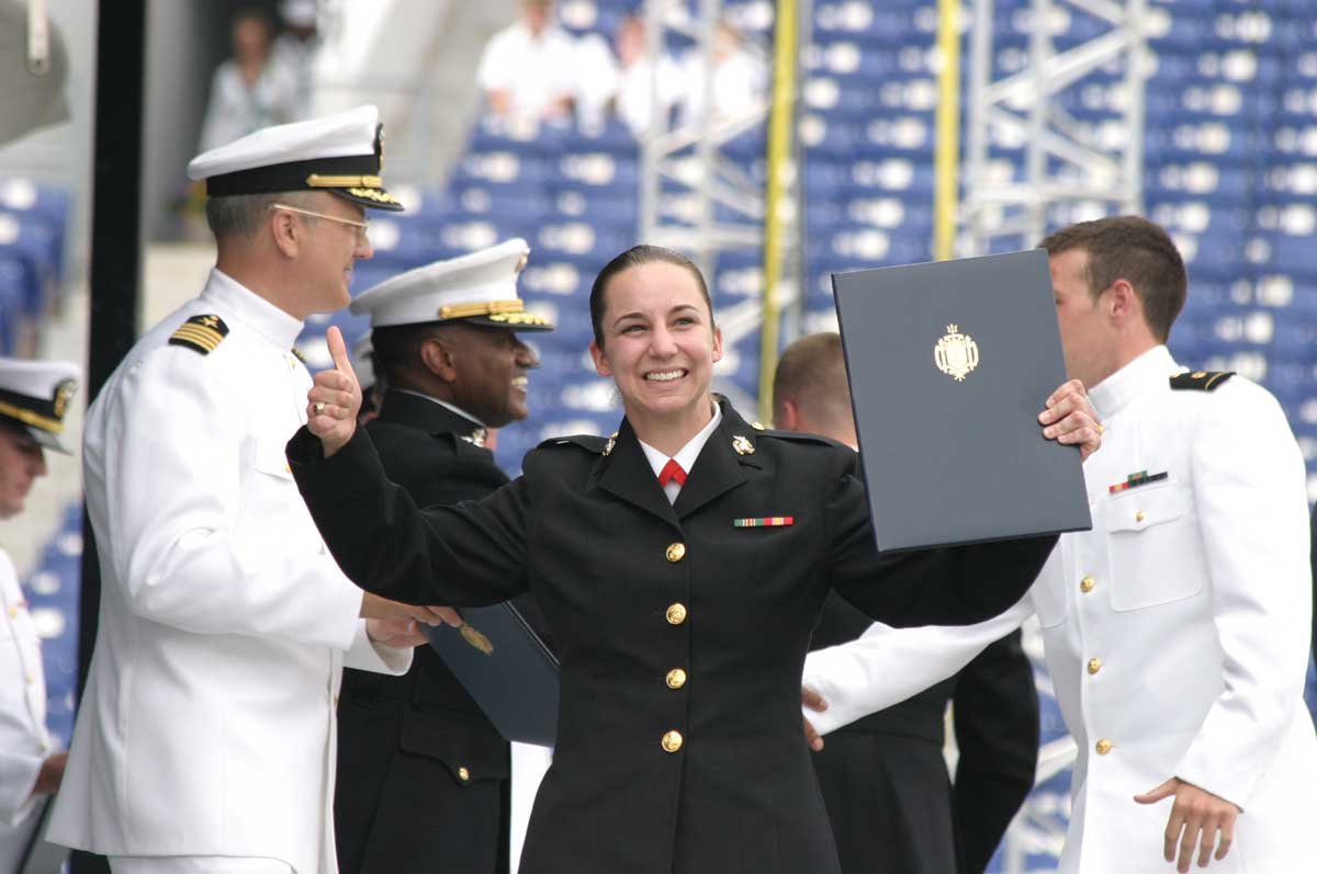 Hanf's graduation at the US Naval Academy, Annapolis, Maryland, May 2010. Courtesy Janell Hanf