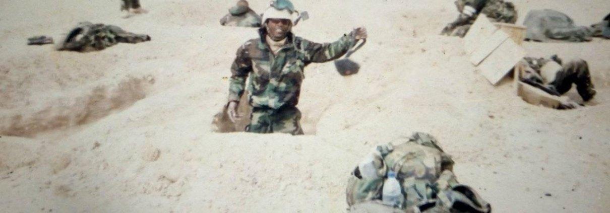 Josiah Koleosho an hour before the start of Operation Iraqi Freedom, March 2003. Courtesy Josiah Koleosho.