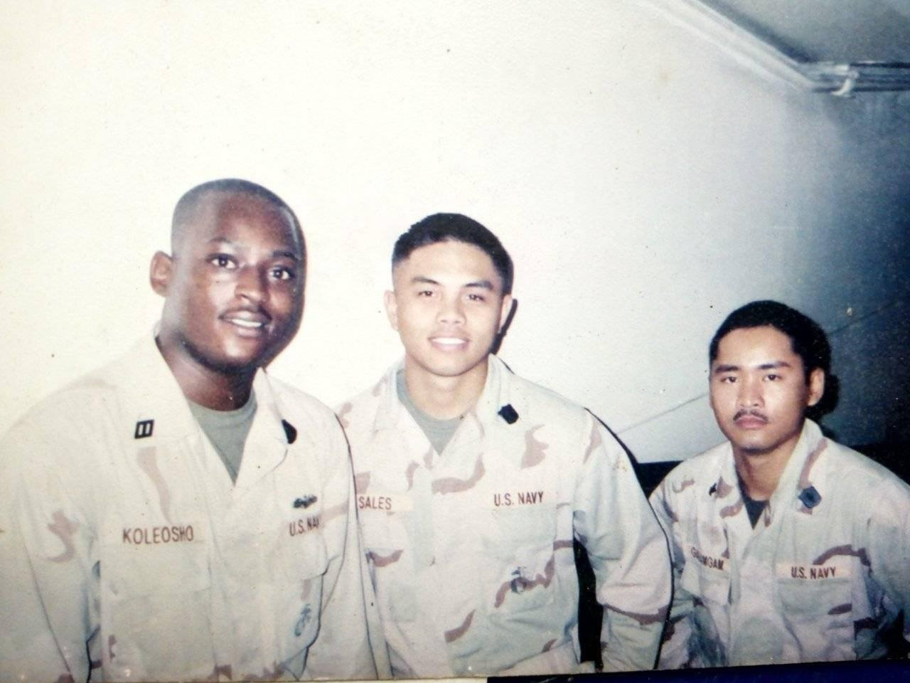"Koleosho and his ""battle buddies"" in Kuwait, March 2003. Courtesy Josiah Koleosho."