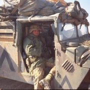 First Lieutenant Harry Whitlockin a HMMWV near Tallil Air Base, Iraq, March 1991.