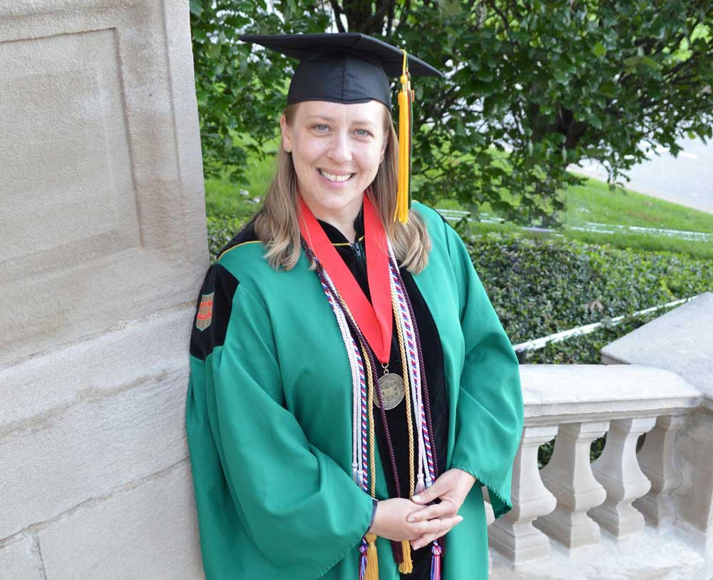 Angela Peacock graduated with a master's in social work from Washington University in St. Louis in May 2019. Photo courtesy of Sarah Townsend