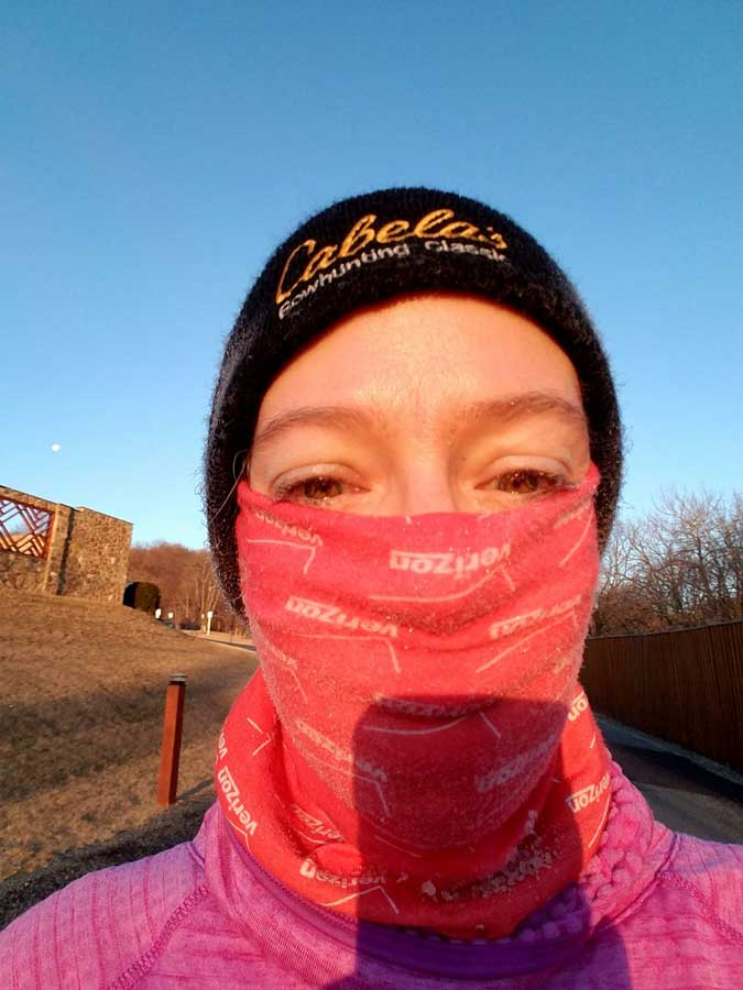 Williams after a frigid run at The War Horse writing retreat in February 2018, on day 152 of her run streak. Photo courtesy of Kayla Williams