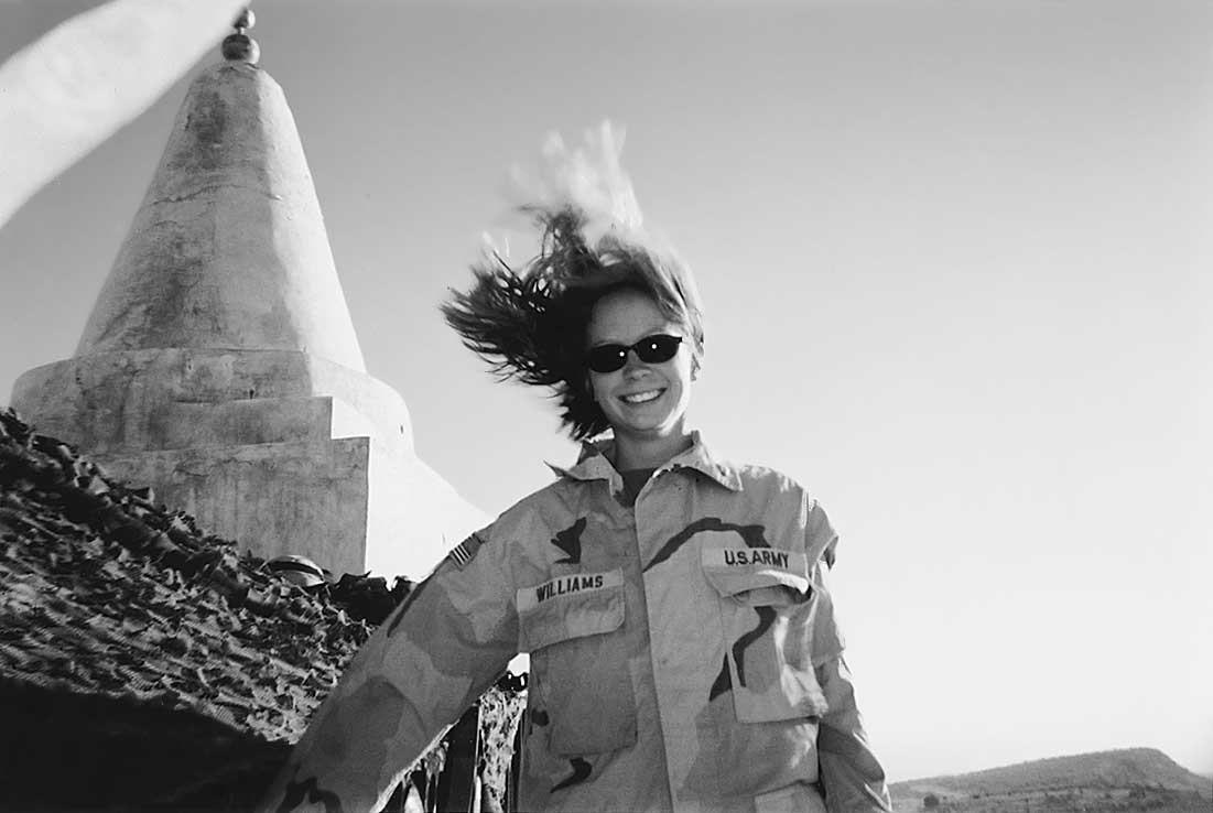 Williams on a particularly windy day near a Yazidi shrine in Iraq, 2003.