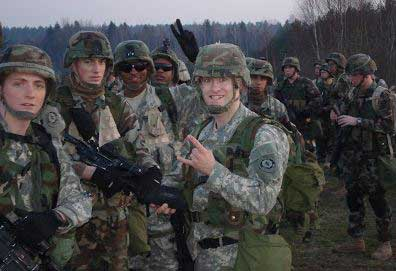 Augusto Giacoman, front and center, at expert infantry badge pre-deployment training, Fort Lewis, Washington, 2005. Courtesy of Augusto Giacoman