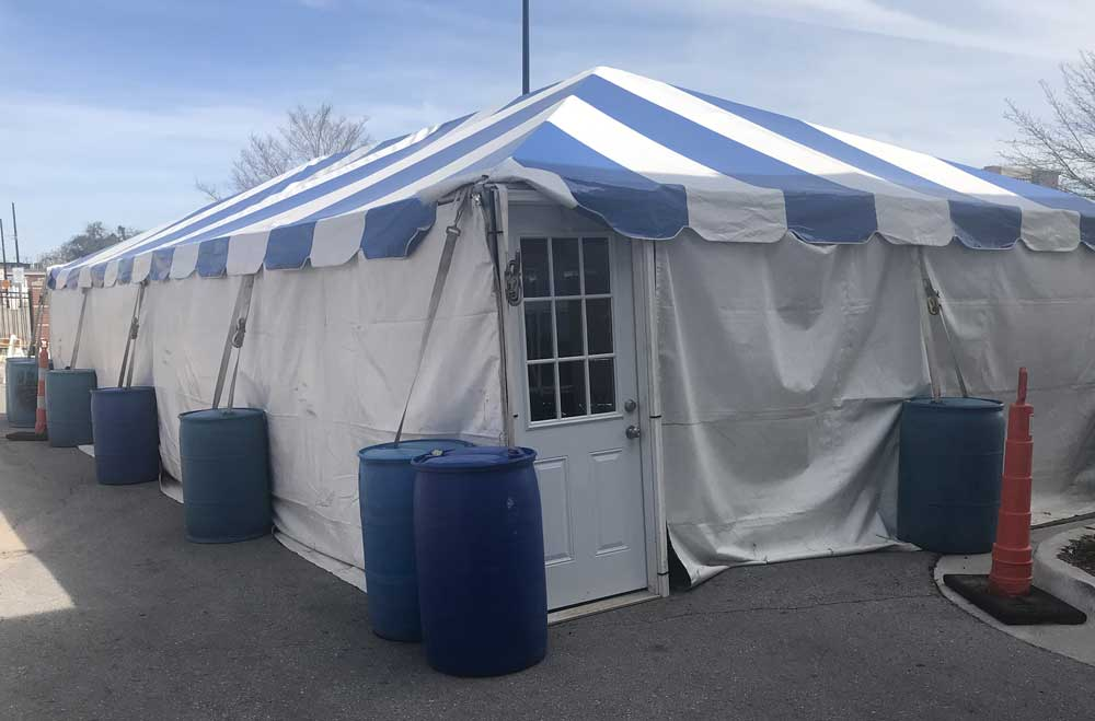 Circus tent outside the hospital parking lot, 2020. Photo courtesy of Johnnie Gilpen
