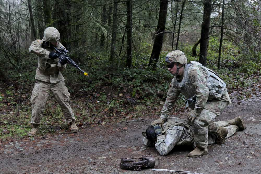 Soldiers train on basic warrior tasks and drills and other major requirements at Joint Base Lewis-McChord, Wa. U.S. Army photo by Staff Sgt. Jacob Kohrs.