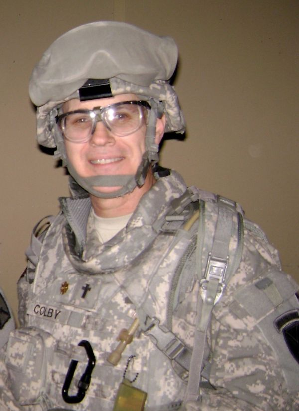 The author's husband, Army Chaplain Cloyd Colby, Iraq deployment, 2008. Photo courtesy of Sarah Colby