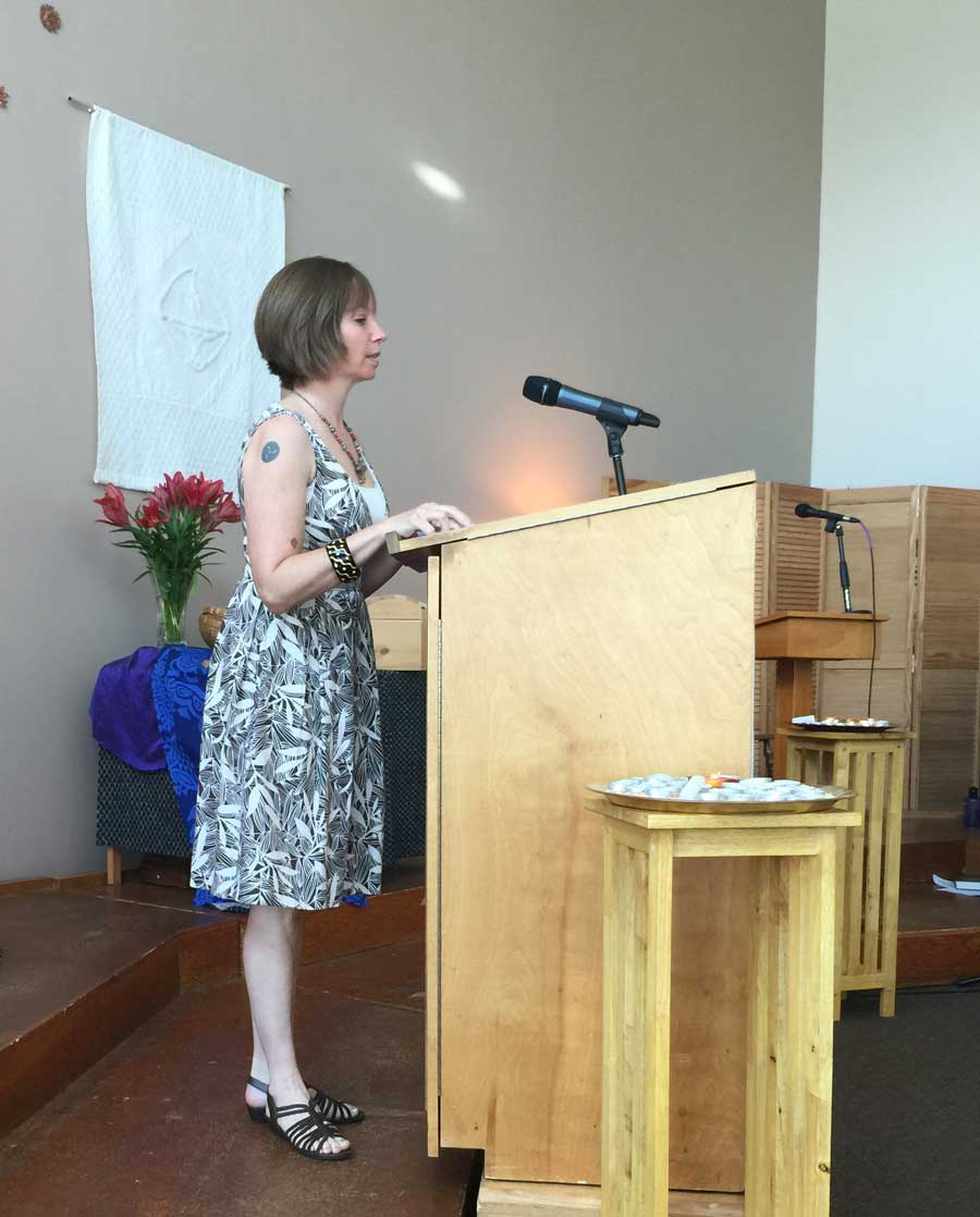 The author giving remarks during a Memorial Day service at the Unitarian Universalist Church of Sterling in Virginia in 2015. Courtesy of Kayla Williams