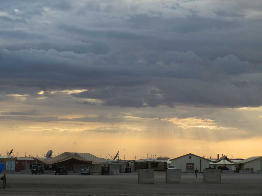 View overlooking the USO on Camp Leatherneck after a storm in 2013. Photo courtesy of Anne Boaden