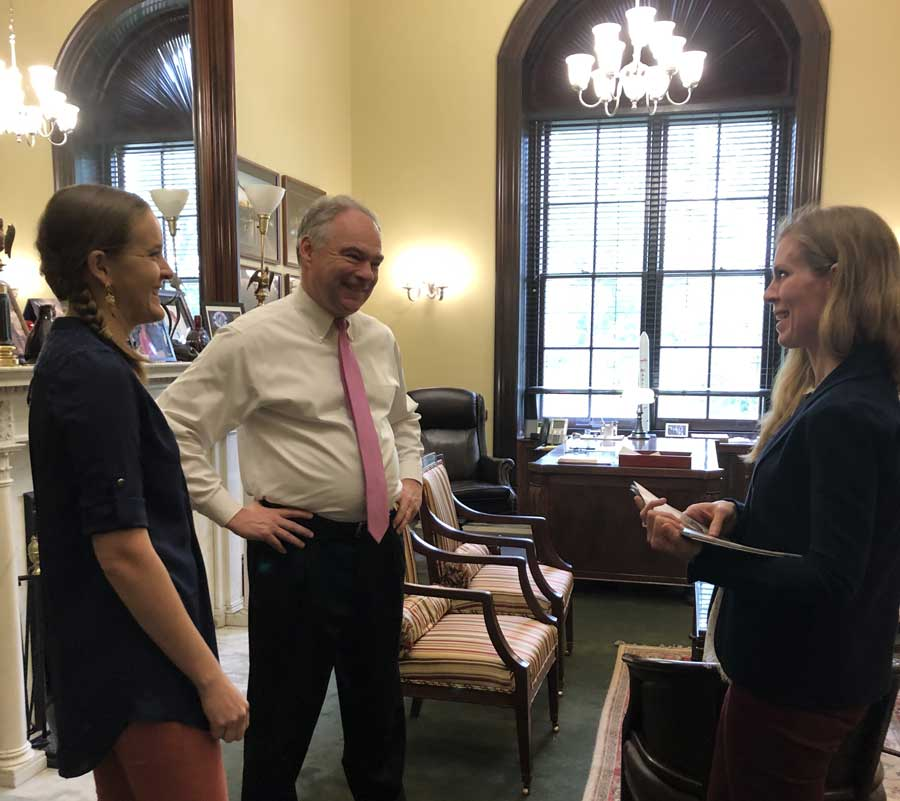 During a trip to Washington D.C. in May 2019, the author met with Senator Tim Kaine, D-Va., to discuss military family advocacy. Photo courtesy of Jennifer Barnhill