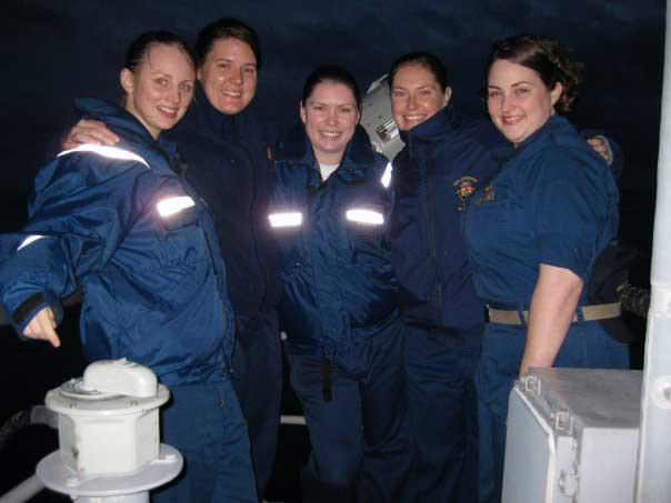 The author, second from left, said she was fortunate to have strong female colleagues on the USS Cowpens, 2007-2009. Photo courtesy of Alison Maruca