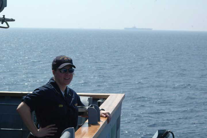 The author on bridge watch as the Officer of the Deck, 2007-2009. Photo courtesy of Alison Maruca