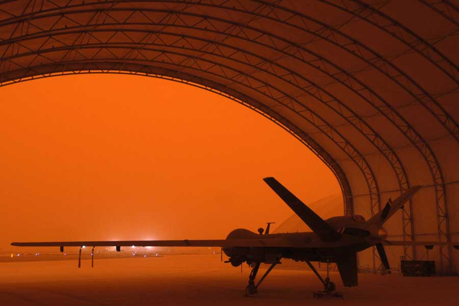 An MQ-9 Reaper sits in a hanger during a sandstorm at Joint Base Balad, Iraq, Sept. 15, 2008. Photo by Senior Airman Jason Epley, courtesy of U.S. Air Force.