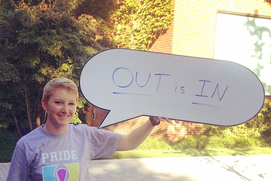 Emily Miller celebrates National Coming Out Day at Harvard Business School with the school's LGBT student association.