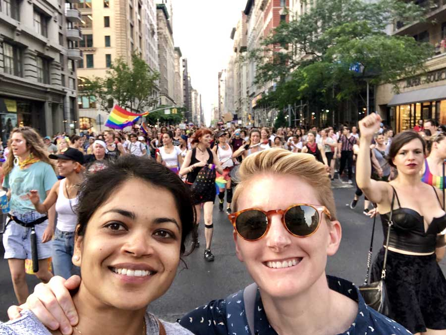 Emilly Miller and her wife, Lakshmi Kannan, at 2019 New York City Pride during the 50th anniversary of the 1969 Stonewall riots.
