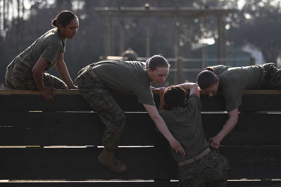 U.S. Marine recruits with November Company, 4th Recruit Training Battalion, Recruit Training Regiment, Marine Corps Recruit Depot Parris Island. Photo by Lance Cpl. Aneshea Yee, courtesy of U.S. Marine Corps.