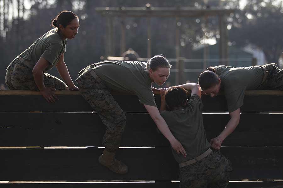U.S. Marine recruits with November Company, 4th Recruit Training Battalion, Recruit Training Regiment, Marine Corps Recruit Depot Parris Island. Photo by Lance Cpl. Aneshea Yee, courtesy of U.S. Marine Corps.