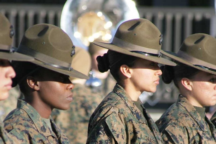 U.S. Marine Corps drill instructors with the 4th Recruit Training Battalion, Marine Corps Recruit Depot Parris Island. Photo by Lance Cpl. Vincent White, courtesy of U.S. Marine Corps.
