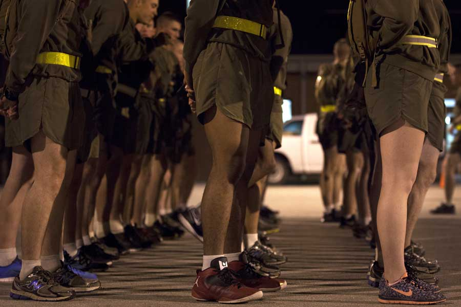 Students at the Infantry Training Battalion stand in formation. Photo by Cpl. Chelsea Flowers Anderson, courtesy of U.S. Marine Corps.