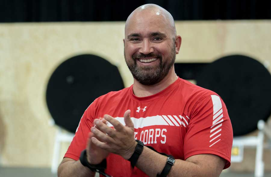 U.S. Marine Corps veteran Charles Dane of Team Marine Corps is introduced during the Defense Department Warrior Games archery competition in June 2018 at the U.S. Air Force Academy in Colorado Springs, Colorado. After Dane checked into Walter Reed National Military Medical Center in January to receive a kidney transplant from a living donor, he was told his doctor had deployed. Photo by Staff Sgt. Carlin Leslie, courtesy of U.S. Air Force.