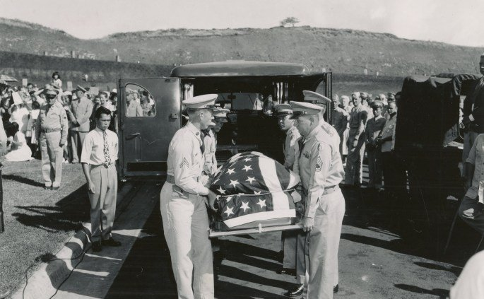 The body of Ernie Pyle was laid to final rest in the new Punchbowl Memorial Cemetery of the Pacific, Oahu July 19, 1949