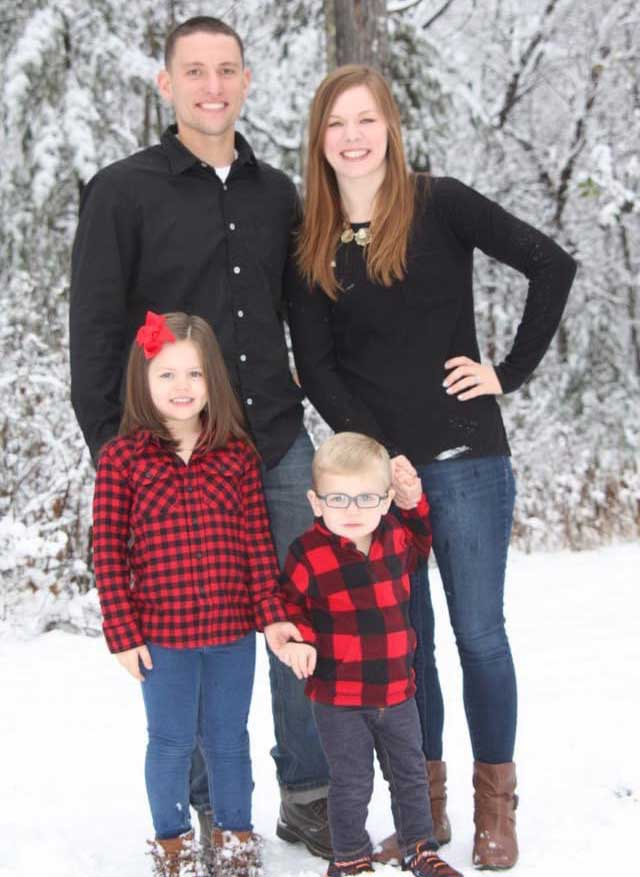The author and her family during their first winter back in the Midwest. Photo courtesy of Sarah Schmidt