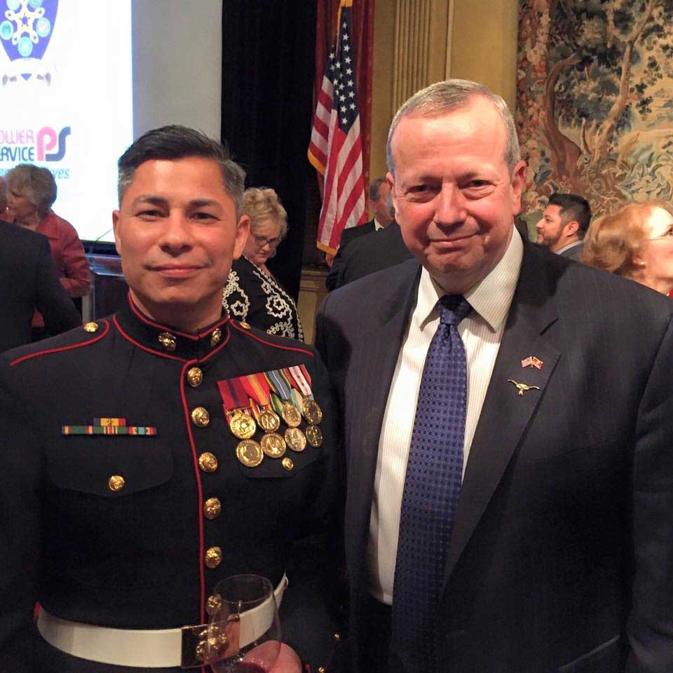 Andrew van Wey, left, and retired Marine Corps Gen. John Allen at the Cowtown Warriors' Ball. Photo courtesy of the author.