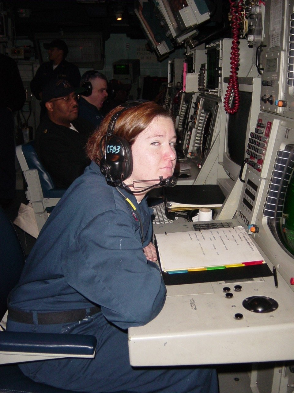 Jeni Brett on watch during a predeployment training exercise in 2004 on the USS Shiloh. Photo courtesy of the author.