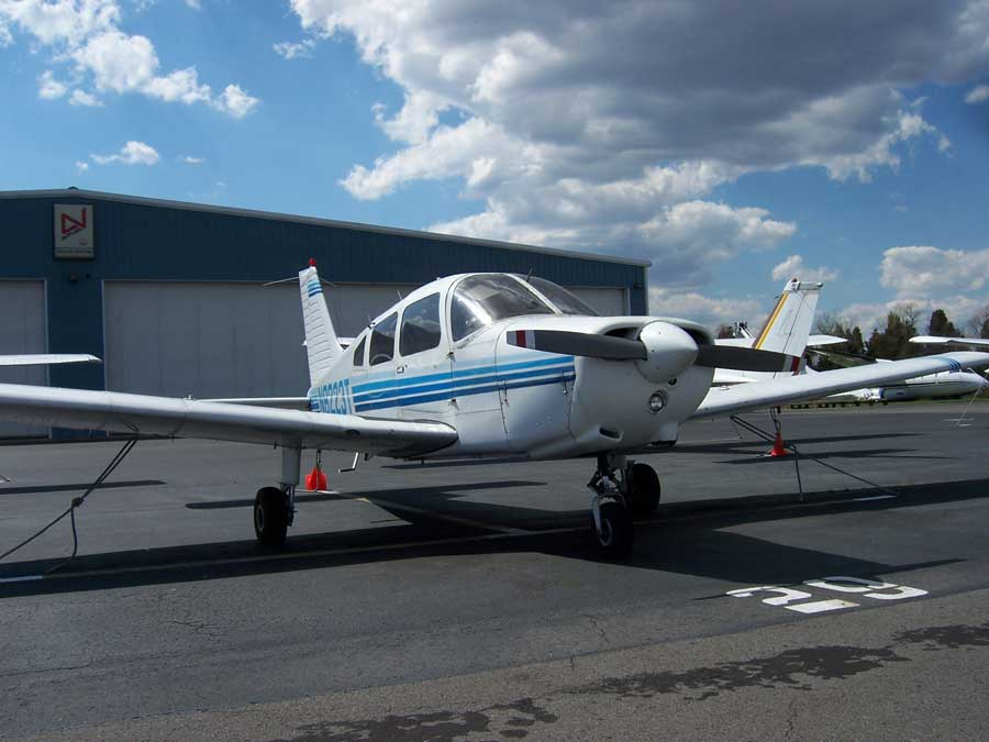 The Piper Warrior airplane the author first flew solo after 11 hours of flight time during Introductory Flight Screening in Manassas, VA, in April 2007. Photo courtesy of the author.