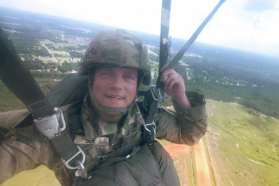 "Lars Boe takes a selfie as he jumps out of a ""perfectly good airplane."" Photo courtesy of the author."