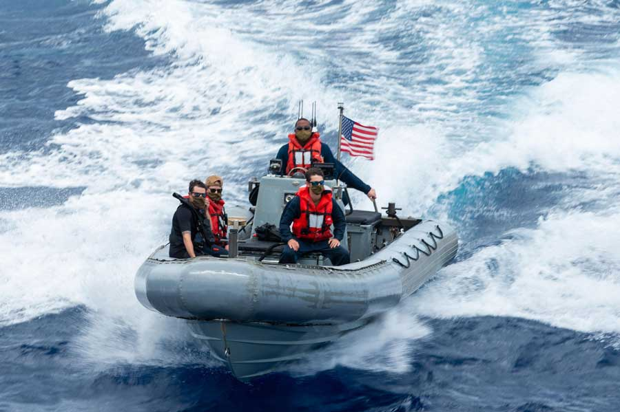 U.S. Navy sailors conduct small-boat operations Sept. 19 in the Carribean Sea in a rigid-hull inflatable boat assigned to the USS William P. Lawrence. Photo by Mass Communication Specialist 3rd Class Maria G. Llanos, courtesy of the U.S. Navy.
