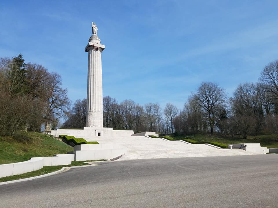 The American Memorial at Montfaucon-d'Argonne rises above the French countryside. Photo by Joanna Guldin-Noll.