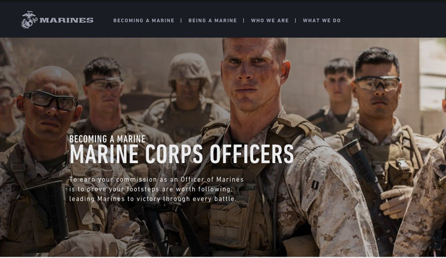 This screenshot from Marines.com, a recruiting website for the Marine Corps, shows Somers, center, as the face of Marine Corps officer training.