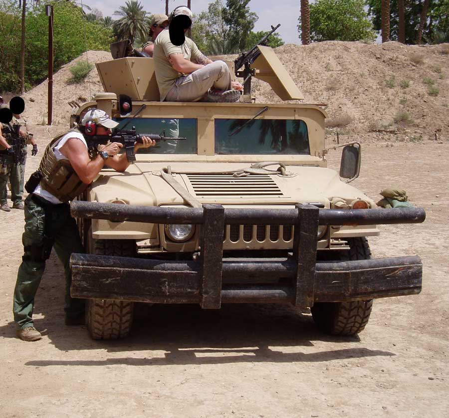 Blackwater contractors practice at a shooting range in the Green Zone in Baghdad. Photo courtesy of the author.