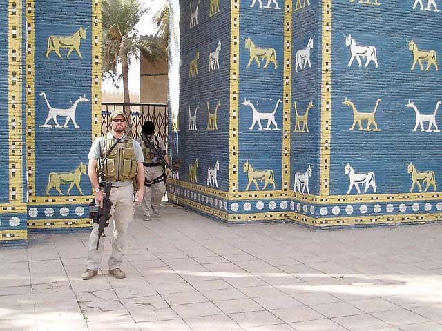 Morgan Lerette stands in front of the Ishtar Gate in Al Hilla, Iraq. Photo courtesy of the author.