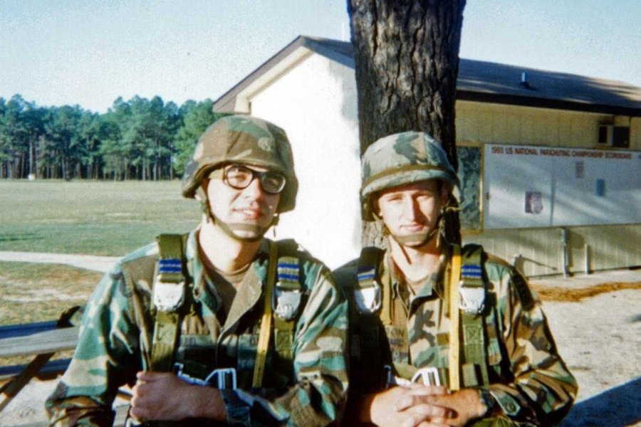 Benjamin Abel and Eric Ellingson, his brother-in-law, prior to a parachute jump at Raeford West Drop Zone in North Carolina, in 1998. Photo courtesy of the author.