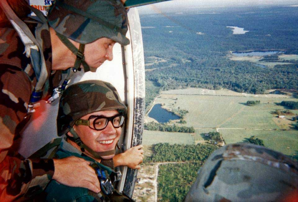 Benjamin Abel during a parachute jump with the 3rd Special Forces Group (Airborne) at Fort Bragg in 1998. Photo courtesy of the author.