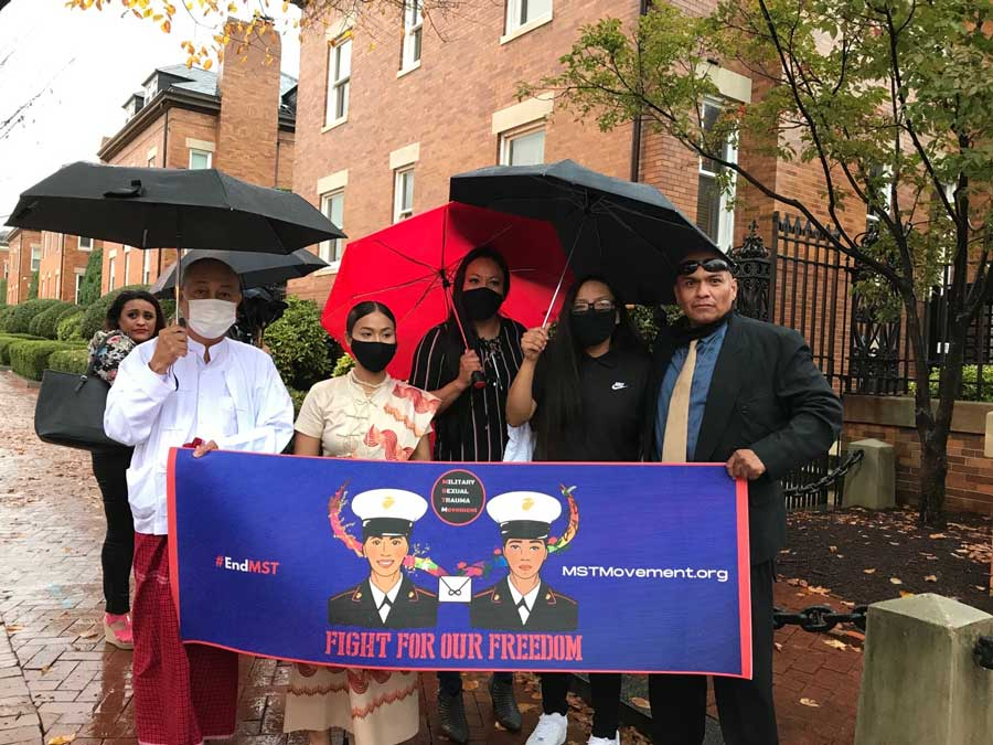 Ohu's supporters held a Veterans Day press conference outside the commandant's home at the Marine Barracks in Washington, D.C. Courtesy of Pan Phyu.