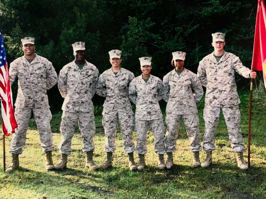 Ohu stands with her fellow Marines after she becomes an admistrative specialist. Courtesy of Pan Phyu.