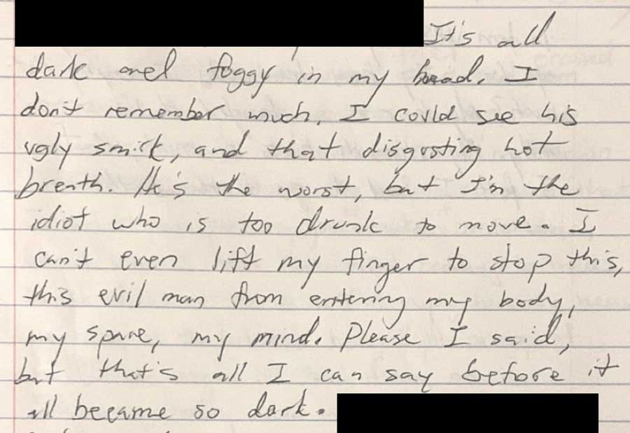In addition to police reports and medical records, Ohu's sister provided multiple pages of Ohu's handwritten accounts detailing her assault and its fallout.