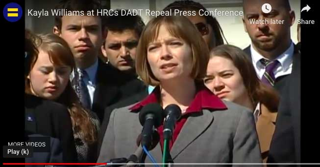 """Kayla Williams speaks at a """"don't ask, don't tell"""" policy repeal event. Photo courtesy of Human Rights Campaign."""