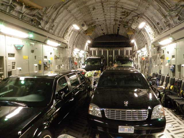 Former Vice President Joe Biden's limousine in the back of C-17 airplane in August 2011. Photo courtesy of the author.